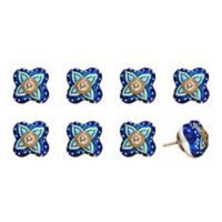 Knob-It Vintage Hand Painted 8-Pack Ceramic Knob Set in Navy/Blue/Green