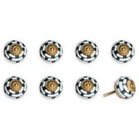 Knob-It Vintage Hand Painted 8-Pack Ceramic Knob Set in White/Teal