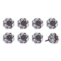 Knob-It Vintage Hand Painted 8-Pack Ceramic Knob Set in White/Navy Floral