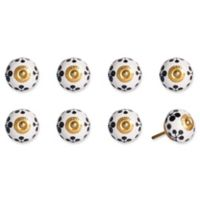 Knob-It Vintage Hand Painted 8-Pack Ceramic Round Knob Set in Blue/White/Gold
