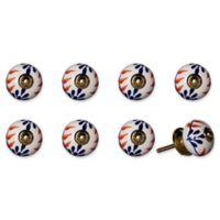 Knob-It Vintage Hand Painted 8-Pack Ceramic Knob Set in White/Blue/Orange