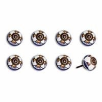Knob-It Vintage Hand Painted 8-Pack Ceramic Round Knob Set in Blue/Yellow Flower