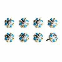 Knob-It Vintage Hand Painted 8-Pack Ceramic Knob Set in White/Blue Flower