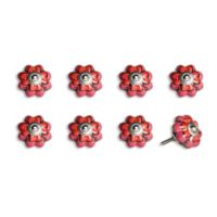 Knob-It Vintage Hand Painted 8-Pack Ceramic Knob Set in Pink/Red Floral