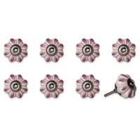 Knob-It Vintage Hand Painted 8-Pack Ceramic Round Knob Set in Cream/Pink Flower Petals