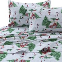 Tribeca Living 170 GSM Snowman Flannel Queen Sheet Set in Red/Green