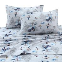 Tribeca Living 170 GSM Snowman Flannel King Sheet Set in Navy/Red