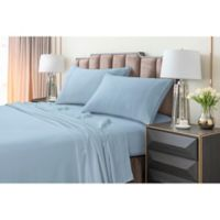 Tribeca Living 220 GSM Solid Flannel Twin Sheet Set in Blue