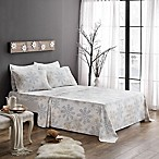 Brielle Flannel Snowflake King Sheet Set in Blue/White