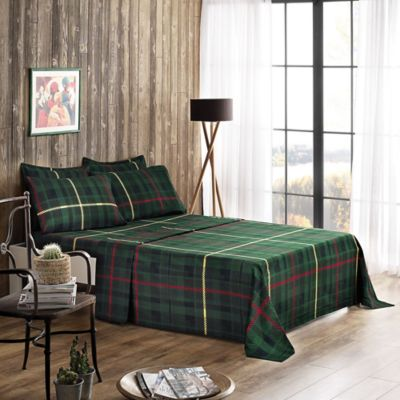 Brielle Flannel Plaid Twin/Twin XL Sheet Set In Green/Red