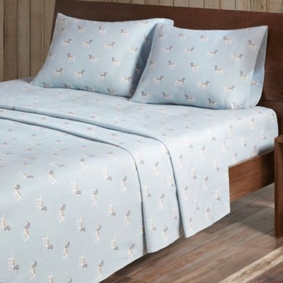 Bon Woolrich® Dog Print Cotton Flannel Queen Sheet Set In Blue
