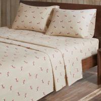 Woolrich® Dog Print Cotton Flannel Queen Sheet Set in Tan