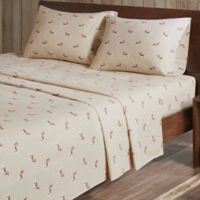 Woolrich® Dog Print Cotton Flannel Full Sheet Set in Tan