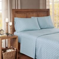 True North by Sleep Philosophy Cozy Geo Flannel Twin Sheet Set in Blue