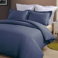 Hotel Grand Reversible King Duvet Cover Set in Navy