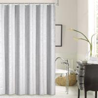Dainty Home Lisbon Shrink Yarn Shower Curtain in Seafoam
