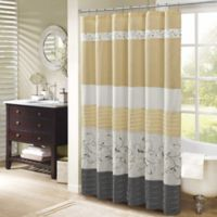 Madison Park Serene 72-Inch x 72-Inch Embroidered Shower Curtain in Yellow