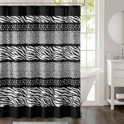 Madison Park Zanzibar Printed Shower Curtain In Black