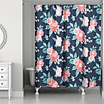 Designs Direct Florals Shower Curtain in Navy
