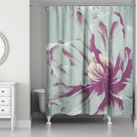Designs Direct Graphic Floral I Shower Curtain in Teal