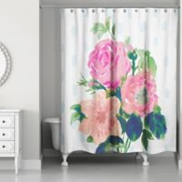 Designs Direct Watercolor Floral Bouquet Shower Curtain in Pink