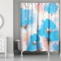 Designs Direct Watercolor Poppies Shower Curtain In Blue