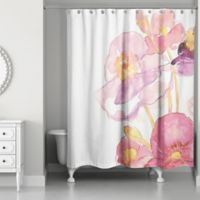 Designs Direct Poppy Stems Shower Curtain in Pink