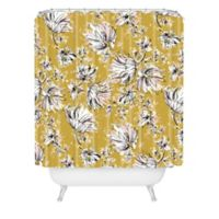 Deny Designs Pattern State Floral Meadow Standard Shower Curtain in Yellow
