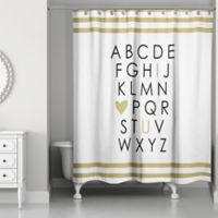 "Designs Direct ""I Heart U"" 74-Inch x 71-Inch Shower Curtain in White"