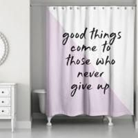 Designs Direct Never Give Up 74-Inch x 71-Inch Shower Curtain in Purple