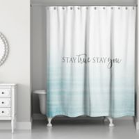 Designs Direct Stay True Stay You 74-Inch x 71-Inch Shower Curtain in Blue