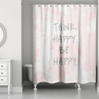 Designs Direct Think Happy Be Happy Watercolor 74-Inch x 71-Inch Shower Curtain in Pink