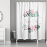 Designs Direct You Are Loved Forever 74-Inch x 71-Inch Shower Curtain in Pink