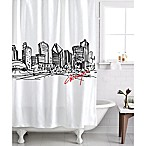 Izola Chicago Skyline Shower Curtain in White/Black