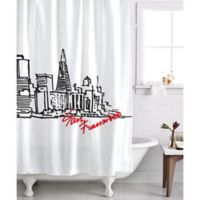 Izola San Francisco Skyline Shower Curtain In White Black