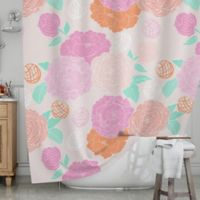 KESS InHouse® Peonies Shower Curtain in Pink