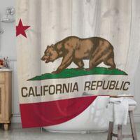 KESS InHouse® California Flag Wood Shower Curtain