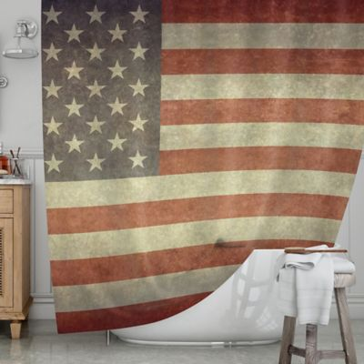 kess inhouse flag of us retro shower curtain - Retro Curtains