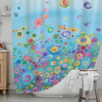 KESS InHouseR Inner Circle Shower Curtain In Blue