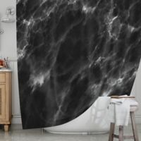 KESS InHouse® Black Marble Shower Curtain