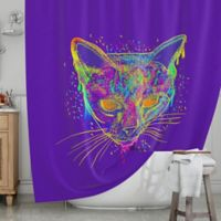 KESS InHouse® Candy Cat Shower Curtain in Purple