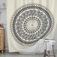 KESS InHouse® Boho Mandala Shower Curtain in Black/White