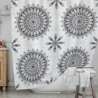 KESS InHouse® Black Mandala Shower Curtain