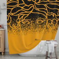 KESS InHouse® Versus Spray Shower Curtain in Black/Gold