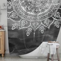 KESS InHouse® Mandala Shower Curtain in Black/White