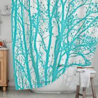 KESS InHouse® Mint Trees Shower Curtain
