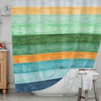 KESS InHouse® Beach Wood Shower Curtain in Blue