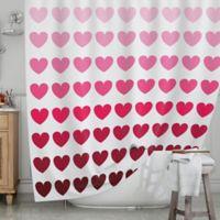 KESS InHouse® Pink Hearts Shower Curtain