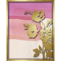 """Flower Silhouette"" 11-Inch x 14-Inch Shadowbox Wall Art in Gold/Pink"