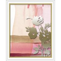 """""""Flower Silhouette"""" 16-Inch x 20-Inch Shadowbox Wall Art in Silver/Pink"""